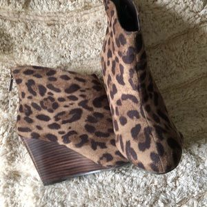 Animal Print Heeled Wedged Ankle Boots